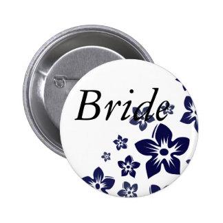 navy blue flowers button