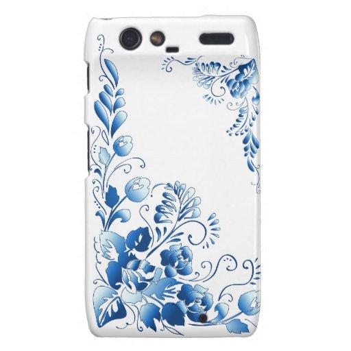 Navy Blue  Flowers Motorola Droid RAZR Covers