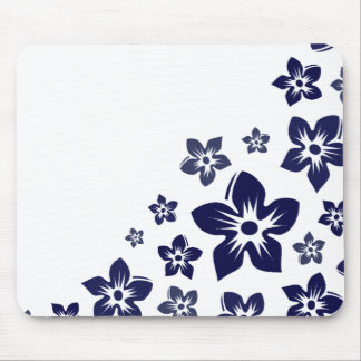 navy blue flowers mouse pad