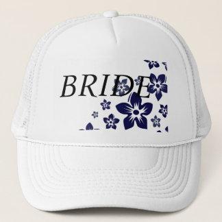 navy blue flowers trucker hat