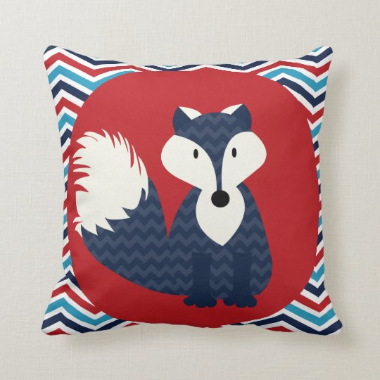 Navy Blue Fox On Red Throw Pillow Zazzle Com