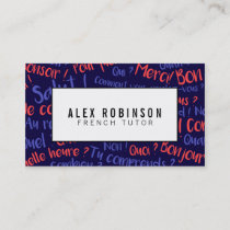 Navy blue french language tutor business card