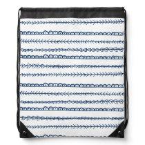 Navy Blue Fun Doodles Wedding Drawstring Backpack