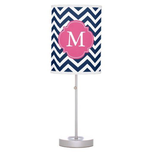 Navy Blue & Fuschia Zigzags Pattern Monogrammed Desk Lamp