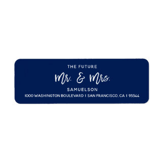 Navy Blue Future Mr & Mrs Wedding Return Address Label