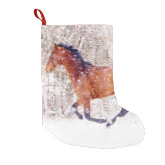 Navy Blue Galloping Horses Pattern Small Christmas Stocking