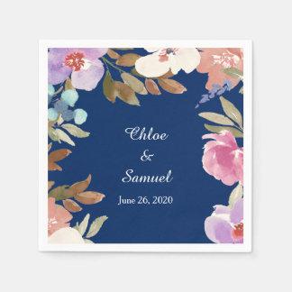 Navy Blue Garden Floral Wedding Paper Napkin