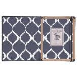 Navy Blue Geometric Ikat Tribal Print Pattern Case For iPad