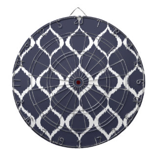 Navy Blue Geometric Ikat Tribal Print Pattern Dart Board