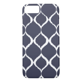 Navy Blue Geometric Ikat Tribal Print Pattern iPhone 8/7 Case