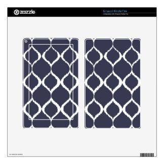 Navy Blue Geometric Ikat Tribal Print Pattern Kindle Fire Decals