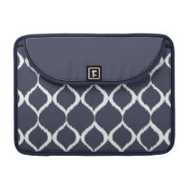 Navy Blue Geometric Ikat Tribal Print Pattern Sleeve For MacBook Pro