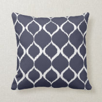 Navy Blue Geometric Ikat Tribal Print Pattern Throw Pillow
