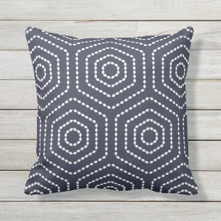 Navy Blue Geometric Pattern Outdoor Pillows at Zazzle