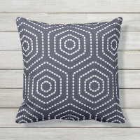 Navy Blue Geometric Pattern Outdoor Pillows