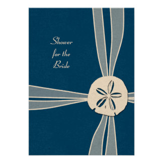 Navy Blue Gift Box Tropical Shower Invitation