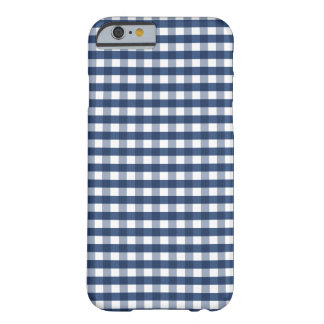 Navy Blue Gingham Barely There iPhone 6 Case