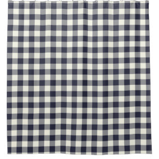 Navy Blue Gingham Shower Curtains