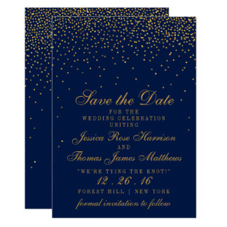 Navy Blue & Glam Gold Confetti Save The Date Card