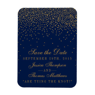 Navy Blue & Glam Gold Confetti Save The Date Magnet