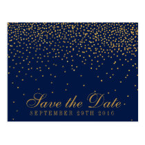 Navy Blue & Glam Gold Confetti Save The Date Postcard