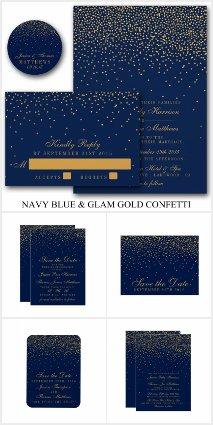 Navy Blue & Glam Gold Confetti Wedding