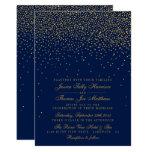 Navy Blue & Glam Gold Confetti Wedding Card