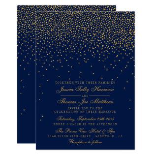 Navy Blue & Glam Gold Confetti Wedding Card at Zazzle