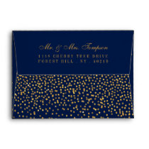 Navy Blue & Glam Gold Confetti Wedding Envelope