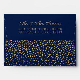 Navy Blue & Glam Gold Confetti Wedding Envelope
