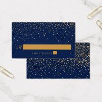 Navy Blue & Glam Gold Confetti Wedding Escort Card
