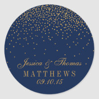Navy Blue & Glam Gold Confetti Wedding Favor Classic Round Sticker