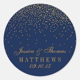 Navy Blue & Glam Gold Confetti Wedding Favor Classic Round Sticker