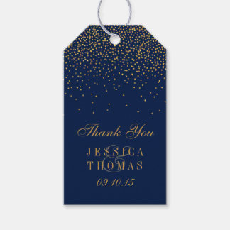 Navy Blue & Glam Gold Confetti Wedding Favor Gift Tags