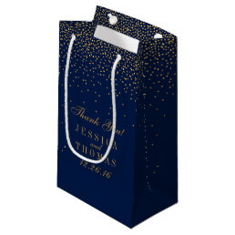 Navy Blue & Glam Gold Confetti Wedding Favor Small Gift Bag