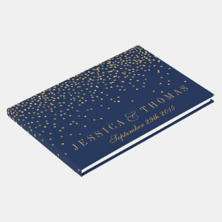 Navy Blue & Glam Gold Confetti Wedding Guest Book