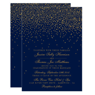 Navy Blue & Glam Gold Confetti Wedding Invitation