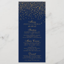 Navy Blue & Glam Gold Confetti Wedding Menu