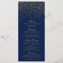 Navy Blue & Glam Gold Confetti Wedding Menu