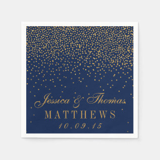 Navy Blue & Glam Gold Confetti Wedding Napkin at Zazzle