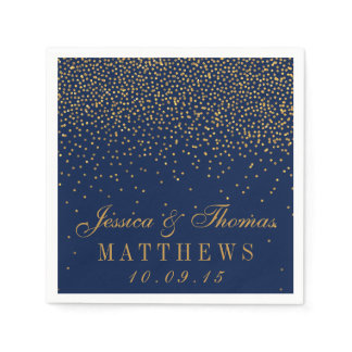 Navy Blue & Glam Gold Confetti Wedding Napkin