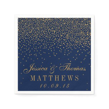 invitation_republic Navy Blue & Glam Gold Confetti Wedding Napkin