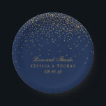 "Navy Blue &amp; Glam Gold Confetti Wedding Paper Plate<br><div class=""desc"">The navy blue &amp; glam gold confetti wedding collection is perfect for any couple planning a romantic wedding celebration. The design features a chic navy blue background with glam gold confetti which is truly stunning and perfect for any special event. The wording incorporates the same gold color of the design...</div>"
