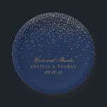 """Navy Blue &amp; Glam Gold Confetti Wedding Paper Plate<br><div class=""""desc"""">The navy blue &amp; glam gold confetti wedding collection is perfect for any couple planning a romantic wedding celebration. The design features a chic navy blue background with glam gold confetti which is truly stunning and perfect for any special event. The wording incorporates the same gold color of the design...</div>"""