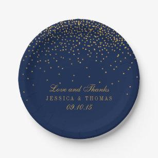 Navy Blue u0026 Glam Gold Confetti Wedding Paper Plate  sc 1 st  Zazzle & Confetti Plates | Zazzle