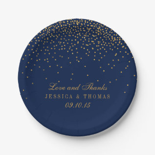 Navy Blue & Glam Gold Confetti Wedding Paper Plate at Zazzle
