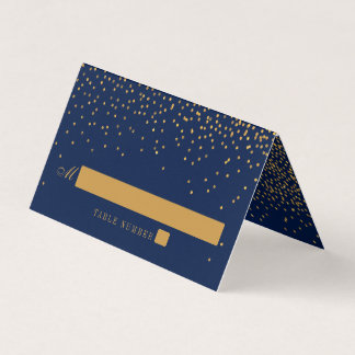 Navy Blue & Glam Gold Confetti Wedding Place Card