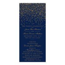 Navy Blue & Glam Gold Confetti Wedding Program