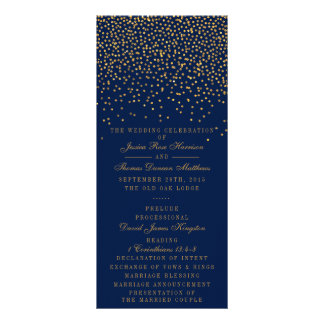 Navy Blue & Glam Gold Confetti Wedding Program