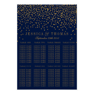 Navy Blue & Glam Gold Confetti Wedding Seating Poster